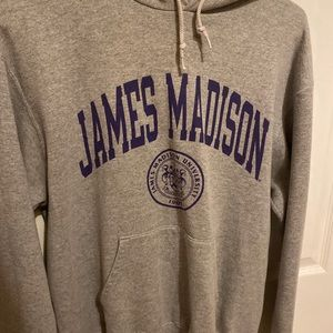 Grey hooded JMU sweatshirt
